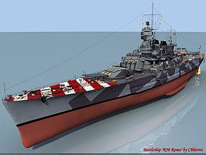 Italian battleship Roma (1940) - CG rendering of Roma