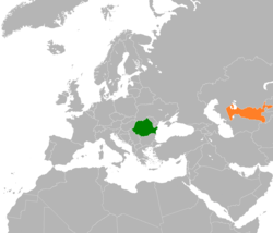 Map indicating locations of Romania and Uzbekistan