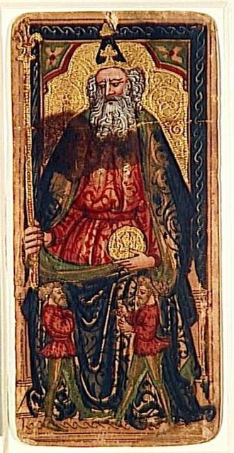 Trionfi (cards) - The Emperor, the only surviving trump from the Rothschild-Bassano deck. He carries a florin while holding a sceptre surmounted by the fleur-de-lis, both symbols of Florence.