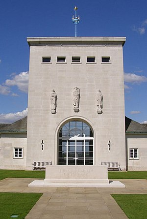 Vernon Hill (sculptor) - Royal Air Force Memorial, Runnymede, Surrey. Hill's works appear above the entrance