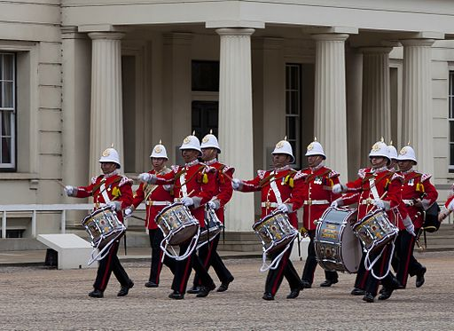 Royal Gibraltar Regiment nine drummers drumming