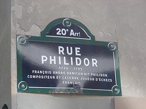 François-André Danican Philidor - La plaque de la rue François-André Danican Philidor dans le 20ème arrondissement à Paris.