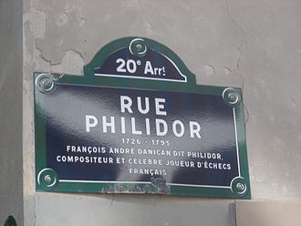 François-André Danican Philidor - Plaque honoring François-André Danican Philidor on the street of his name in the 20th arrondissement of Paris