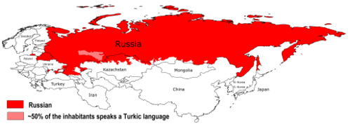 Map of all areas where the Russian language is the language spoken by the majority of the population. Russian Language.png