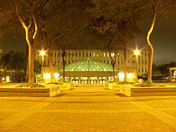 Malcolm A. Love Library and Library Addition at night