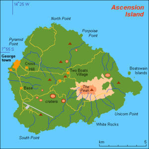 map (rough) of Ascension island, St Helena, co...