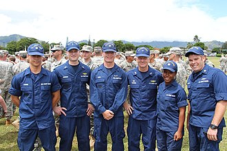 Coast Guardsmen in 2013 wearing ODUs SN Cody Reed and USCG members at Air Station Barbers Point, 2013.jpg