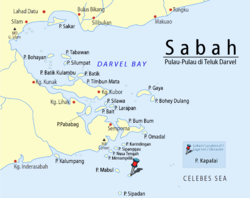 Location of Kapalai Island in Darvel Bay