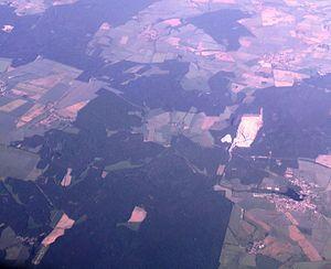 Flechtingen (bottom right) and the northwest part of the Flechtinger mountain range