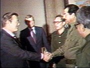 "Donald rumsfeld meeting saddam on 19 december – 20 december 1983. rumsfeld visited again on 24 march 1984; the same day the un released a report that iraq had used mustard gas and tabun nerve agent against iranian troops. the ny times reported from baghdad on 29 march 1984, that ""american diplomats pronounce themselves satisfied with iraq and the u.s., and suggest that normal diplomatic ties have been established in all but name.""  the image above is proposed for deletion. see images and media for deletion to help reach a consensus on what to do."