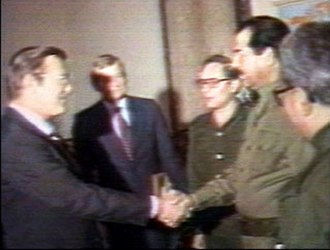 Gulf War - Donald Rumsfeld as US special envoy to the Middle East, meets Saddam Hussein on 19–20 December 1983.