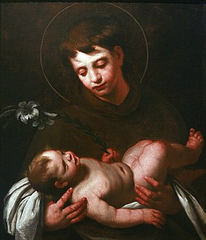 Anthony of Padua - Saint Anthony of Padua Holding Baby Jesus by Strozzi, c. 1625; the white lily represents purity.