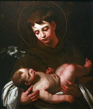 English: Saint Antony of Padua holding Baby Je...