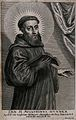 Saint Augustine of Canterbury. Line engraving by A. Lommelin Wellcome V0031641.jpg