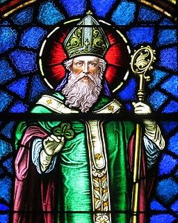 Saint Patrick Catholic Church (Junction City, Ohio) - stained glass, Saint Patrick - detail