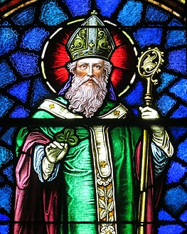 Saint Patrick Catholic Church (Junction City, Ohio) - stained glass, Saint Patrick - detail.jpg