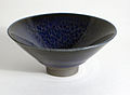 Sake cup by Kamada Koji with blue tenmoku glaze.jpg