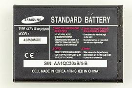 Samsung Li-ion polymer battery, Model AB553850DE-9737.jpg