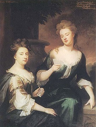 Sarah Churchill, Duchess of Marlborough - The Duchess of Marlborough (right) playing cards with her closest friend, Barbara, Lady Fitzharding, by Sir Godfrey Kneller, c. 1702