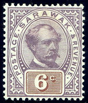 History of Sarawak - An 1888 revenue stamp of Sarawak featuring the picture of Charles Brooke