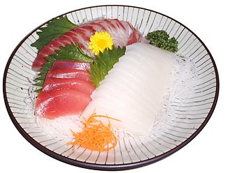 Sashimi - Assorted sashimi: tuna, cuttlefish, and seabream