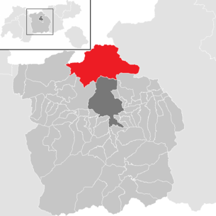 Location of the community Scharnitz in the Innsbruck-Land district (clickable map)
