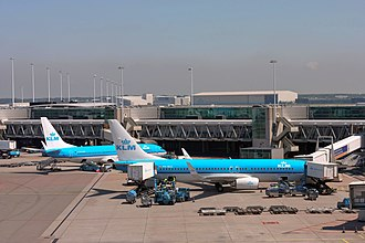 Amsterdam Airport Schiphol ranks as Europe's third-busiest airport for passenger traffic. Schiphol Airport Pier D (7325966610).jpg