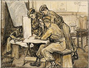 Army Cadet Force - School Cadets map reading during the Second World War