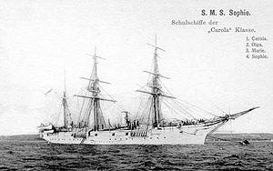 SMS Sophie - A postcard depicting Sophie, c. 1886