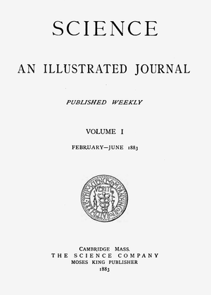 Science (journal) - Cover of the first volume of the resurrected journal (February–June 1883)