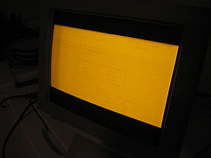 Screen burn-in - Screen burn on an amber monochrome CRT computer monitor. Note that there are two separate burned-in images: one of a spreadsheet program, and another of an ASCII-art welcome screen.