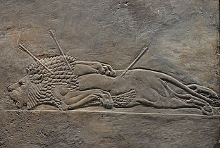 Sculpted reliefs depicting Ashurbanipal, the last great Assyrian king, hunting lions, gypsum hall relief from the North Palace of Nineveh (Irak), c. 645-635 BC, British Museum (16535870558).jpg