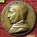 Scuola fiorentina, medaglia di savonarola con pugnale e città fortificata.JPG