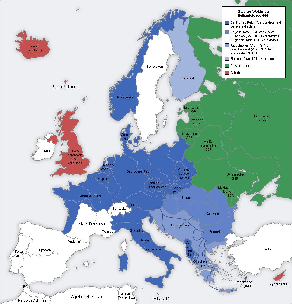 Second world war europe 1941 map de