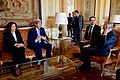 Secretary Kerry, Embassy Paris DCM Zeya Sit With French Foreign Minister Ayrault During First Meeting at Quai d'Orsay in Paris (25117767194).jpg