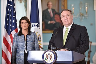 Caracas drone attack - US representatives Mike Pompeo and Nikki Haley (left) in June 2018