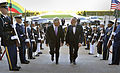 Secretary of Defense Chuck Hagel, left, escorts Lithuania's Minister of National Defense Juozas through an honor cordon and into the Pentagon in Arlington, Va., on 131025-D-NI589-110.jpg