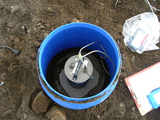 Installation for a temporary seismic station, north Iceland highland. Seismometer-iceland.JPG