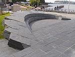 Semicircular slate bench-type seating