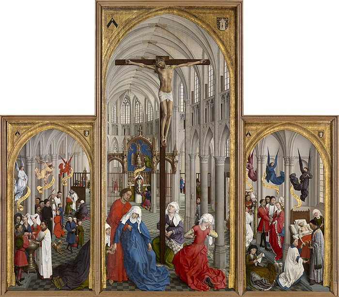 The Seven Sacraments, an altarpiece by Rogier van der Weyden, c. 1448 Seven Sacraments Rogier.jpg