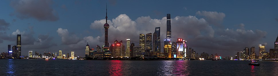 Panoramic view of Pudong's skyline from the Bund
