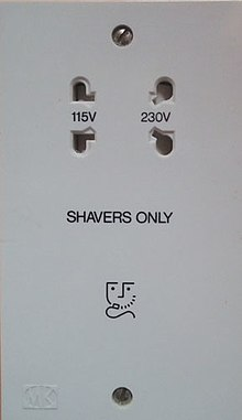 Shaver supply unit for BS 4573, US Type A, Australian two-pin, and Europlug Type C. ShaverSocketUK.jpg