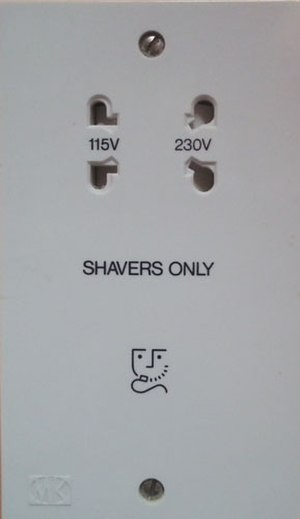 AC power plugs and sockets: British and related types - UK shaver socket marked with shaver symbol. Accepts BS 4573 plugs, also US, Australian and Europlugs. Dual voltage, with isolating transformer.