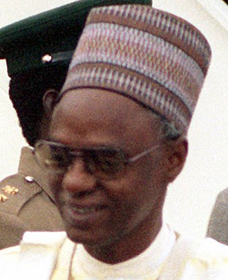 Shehu Shagari was the first democratically elected President of Nigeria in the Second Nigerian Republic from 1979 to 1983. Shehu Shagari 1980-10-07.jpg