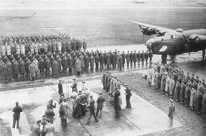 44th Fighter Group - Medal of Honor Ceremony for Col Leon Johnson at Shipdham Airfield, 1943.