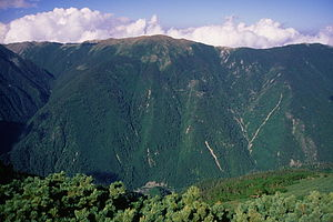 Shirogouchidake and sasayama from koumoridake 1996 7 13.jpg