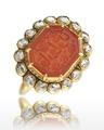 Signetring med arabisk påskrift, gjord av karneol och diamanter - Livrustkammaren - 98872.tif
