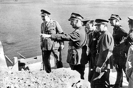 Gen. Wladyslaw Sikorski, prime minister of the Polish government-in-exile and commander-in-chief of Polish armed forces, shortly before his death in 1943 Sikorski in Gibraltar.jpg