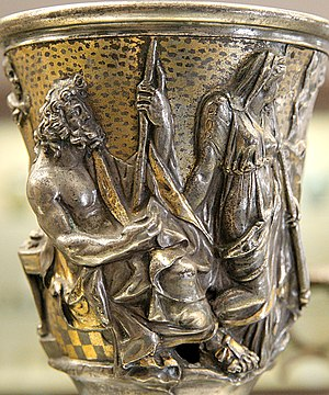 Berthouville Treasure - Silver jug made in Italy, with votive inscription from Q. Domitius Tutus to Mercury (mid-1st century CE)