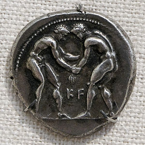 Greek wrestling - Wrestlers on a silver tetradrachm of Aspendos, Pamphilia (400–374 BC)